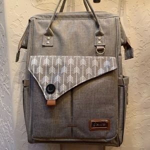 Gray diaper bag